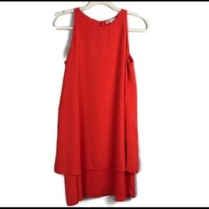 LILA ROSE red draped dress with slit in back sz 4
